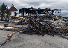 A pile of salvage remained after the demolition.