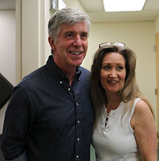 Tom Bergeron with WHAV contest winner Sherryl Comeau. (Cindy Driver photograph for WHAV News.)