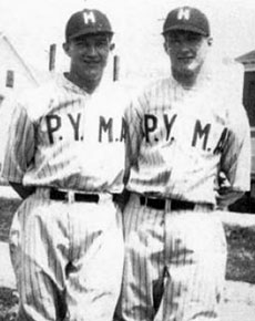 William and Walter Wysocki play ball as part of the Polish Young Men's Association in 1929.