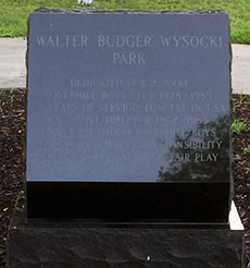 The Walter A. Wysocki memorial in the center of the park. (WHAV News photograph.)