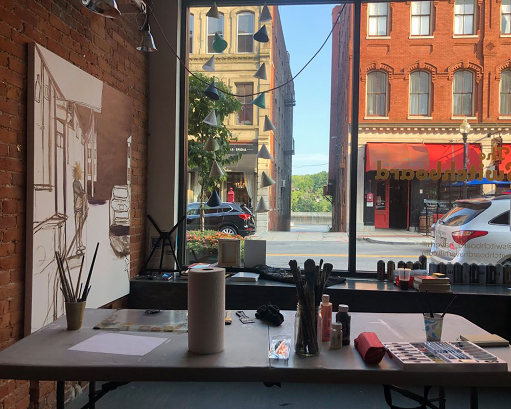 Artist Andy Li is May's Artist-in-Residence at The Switchboard, Downtown Haverhill