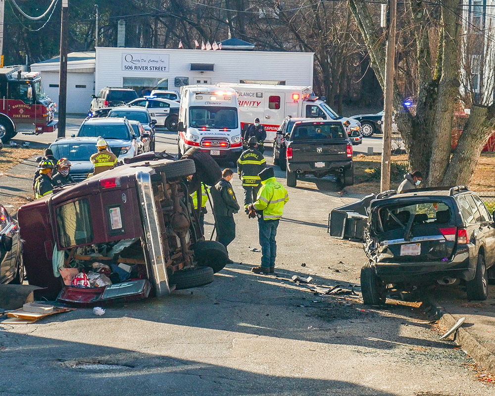 Haverhill Rollover Crash Monday Morning Send Two to Local Hospitals