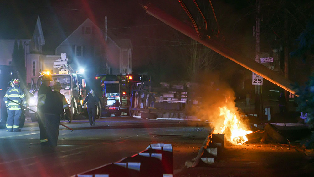 Haverhill Fire Frees Driver From Saturday Rollover Accident, Extinguishes Utility Pole Fire
