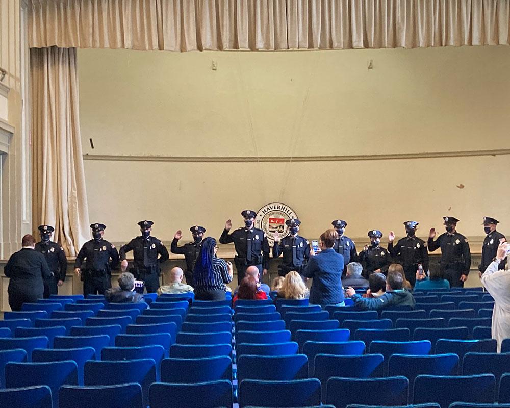 Haverhill Formally Swears in 11 Patrolmen at City Hall Ceremony