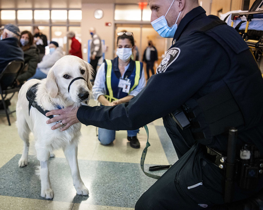 Police Dog 'Whittier' Oversees COVID-19 Vaccine Administration Undertaken by Local Coalition