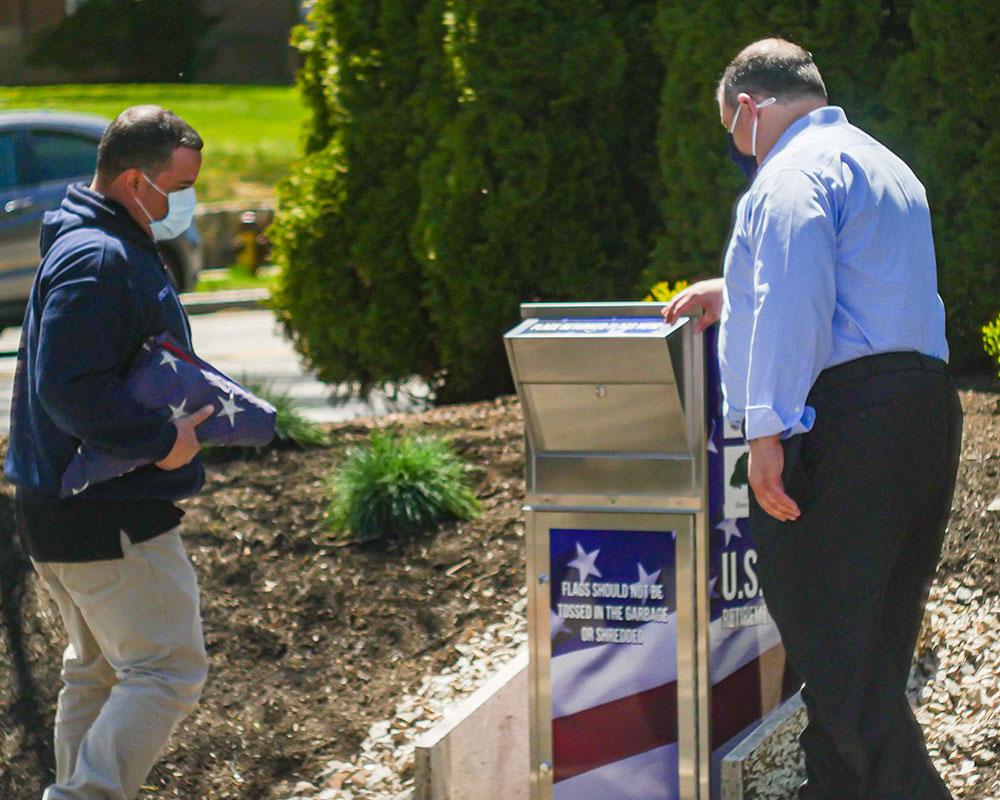 Haverhill Exchange Club Establishes U.S. Flag Retirement Drop Box in Bradford for Dignified Disposal