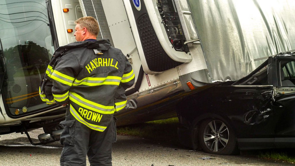 No Injuries After Box Truck Rolls Over on SUV in East Haverhill
