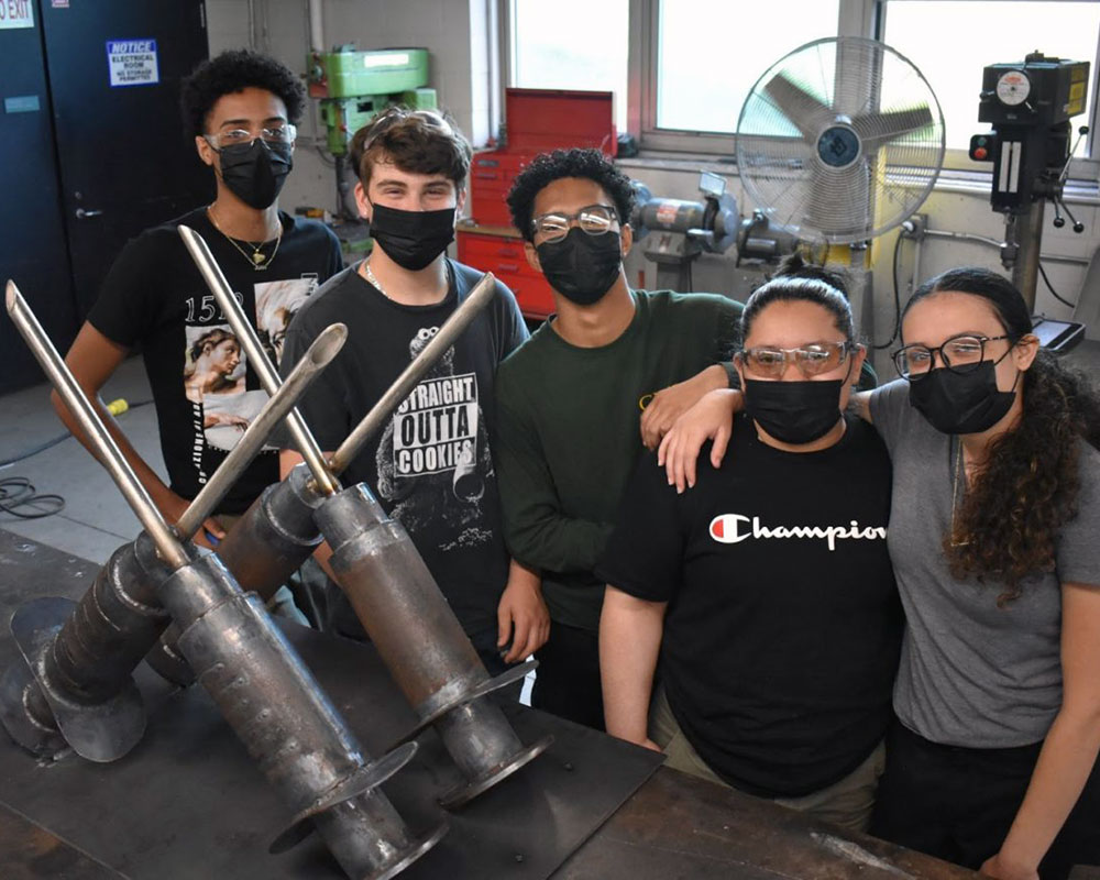 Greater Lawrence Tech. Students Complete COVID-19 Vaccination-Themed Sculpture for Lawrence