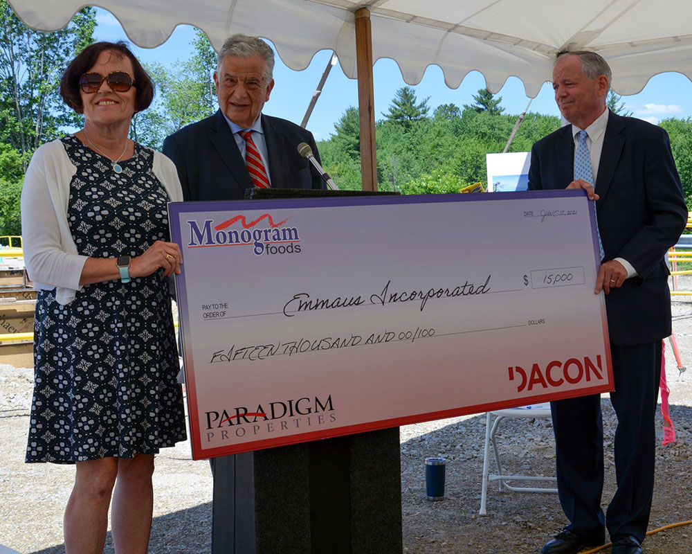 Haverhill's Emmaus Receives $15,000 Donation as Monogram Foods Begins Construction