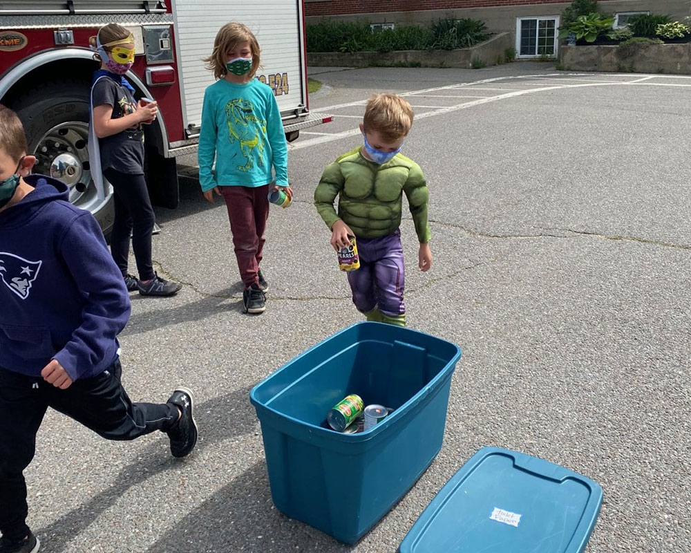 West Newbury's Page School Superheroes Don Their Capes and Fill Town's Food Pantry