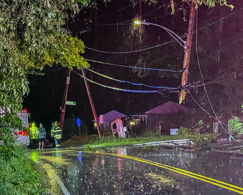 Saturday Night Rollover Accident Shears Utility Pole; Driver Appears Uninjured