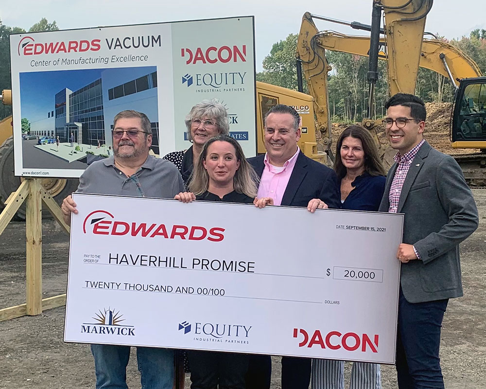 Edwards Vacuum Breaks Ground on New Broadway Park Building, Awards $20K to Haverhill Promise